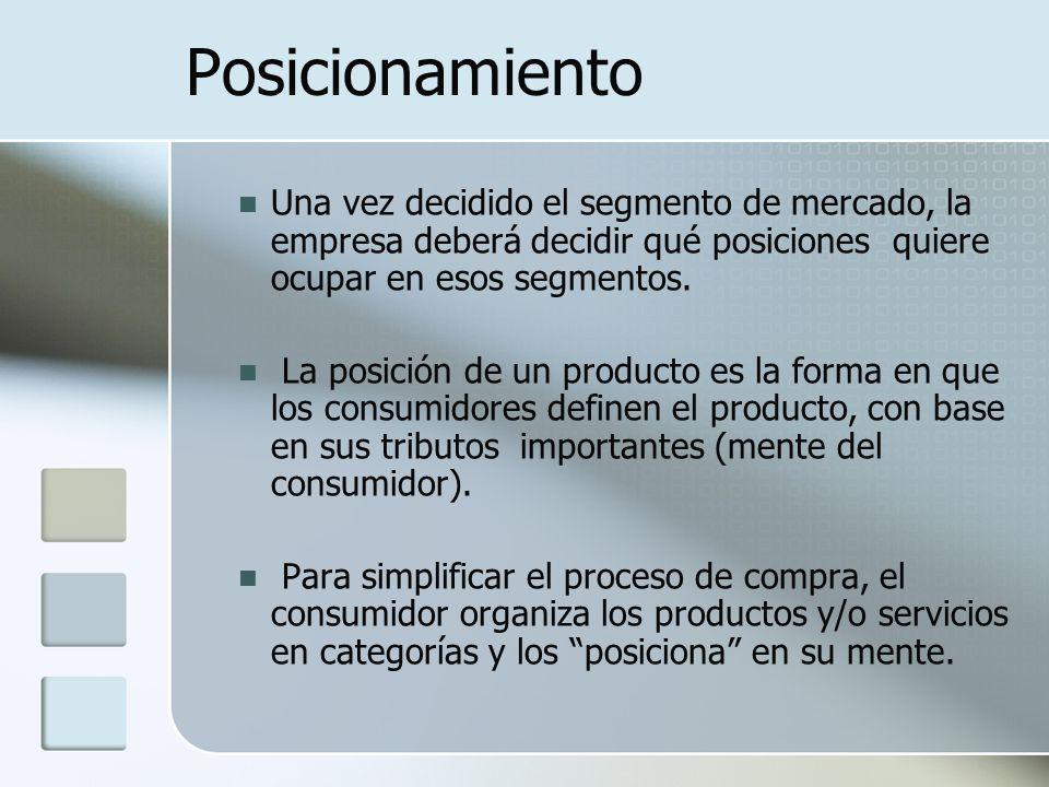 Posicionamiento Una vez decidido el segmento de mercado, la empresa deberá decidir qué posiciones quiere ocupar en esos segmentos.