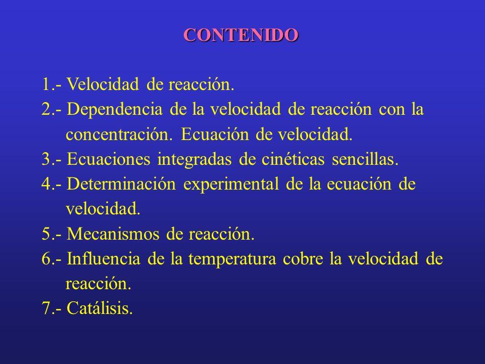 CONTENIDO 1.- Velocidad de reacción. 2.- Dependencia de la velocidad de reacción con la concentración. Ecuación de velocidad.