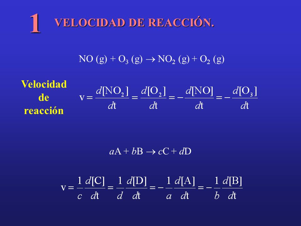 1 VELOCIDAD DE REACCIÓN. Velocidad de reacción