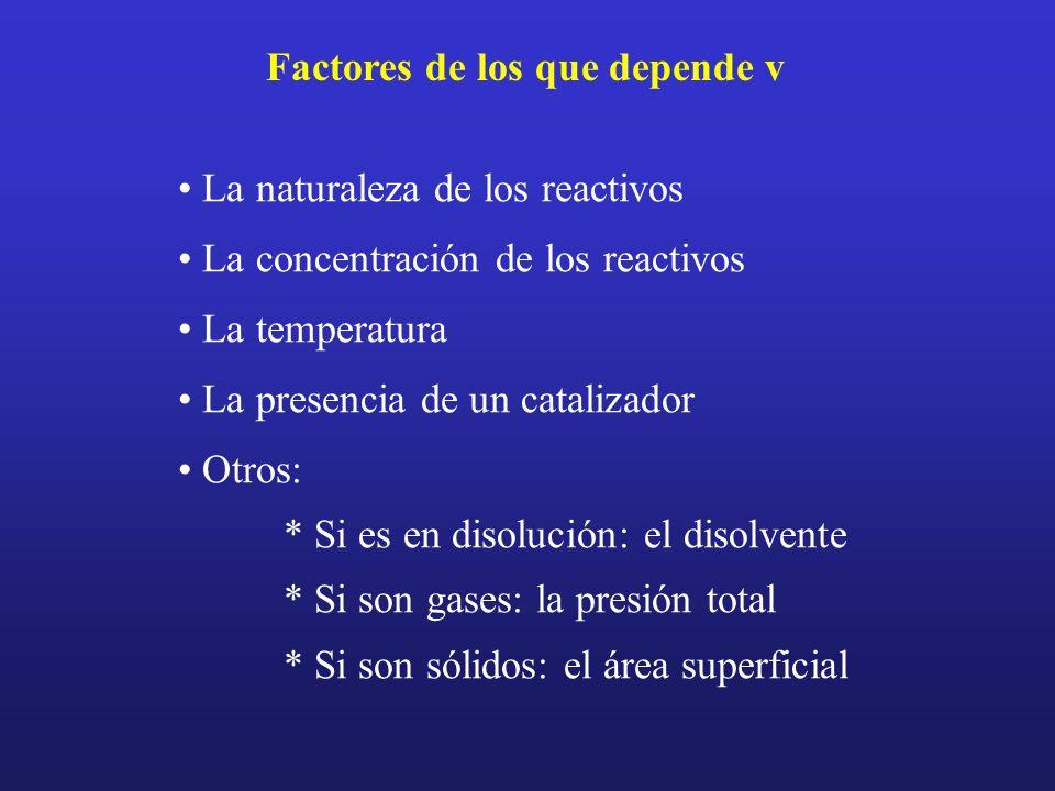 Factores de los que depende v