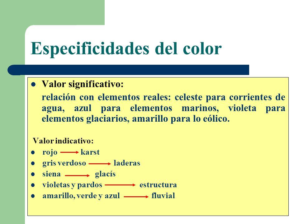 Especificidades del color