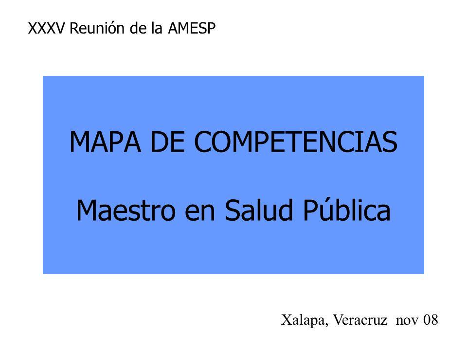 MAPA DE COMPETENCIAS Maestro en Salud Pública
