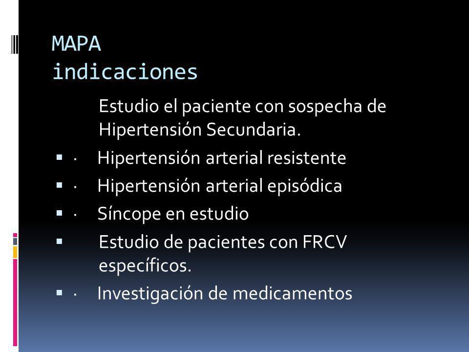 MAPA indicaciones Estudio el paciente con sospecha de Hipertensión Secundaria. · Hipertensión arterial resistente.