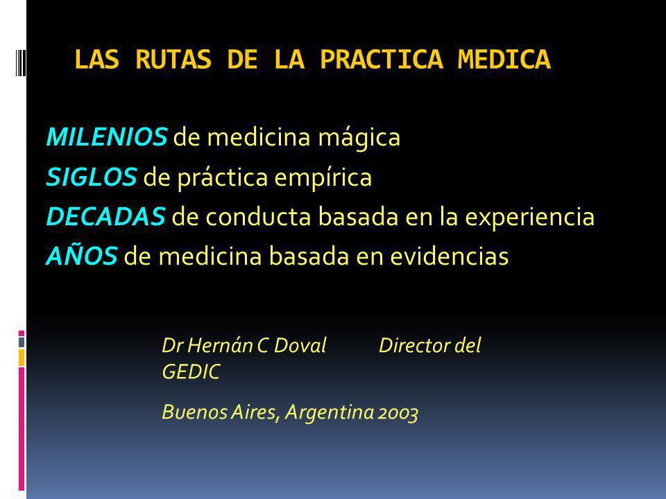 LAS RUTAS DE LA PRACTICA MEDICA
