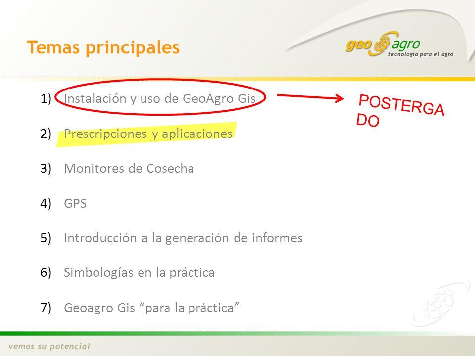 Temas principales POSTERGADO Instalación y uso de GeoAgro Gis