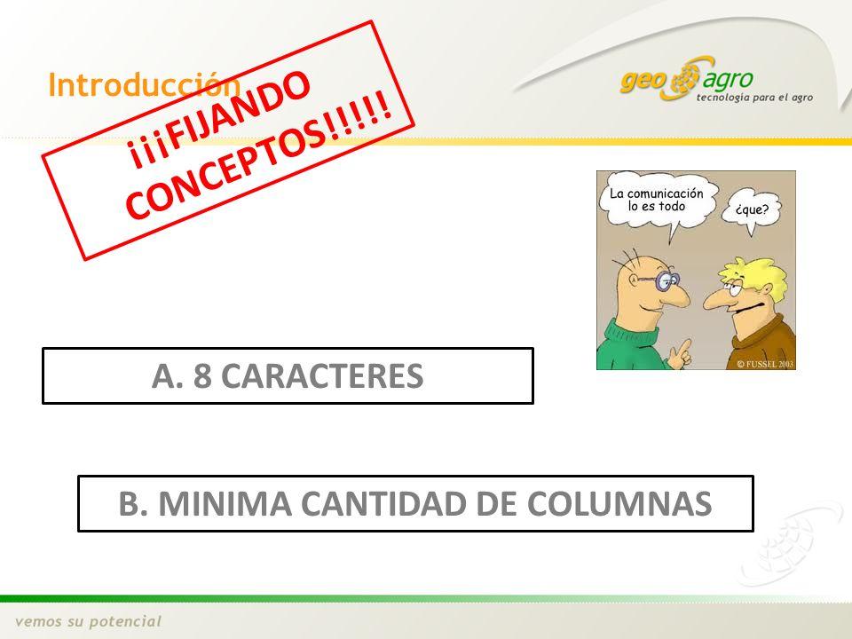 B. MINIMA CANTIDAD DE COLUMNAS