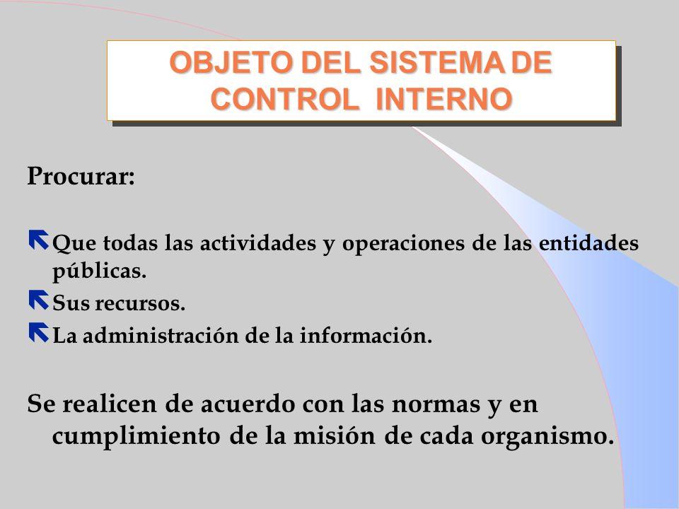 OBJETO DEL SISTEMA DE CONTROL INTERNO