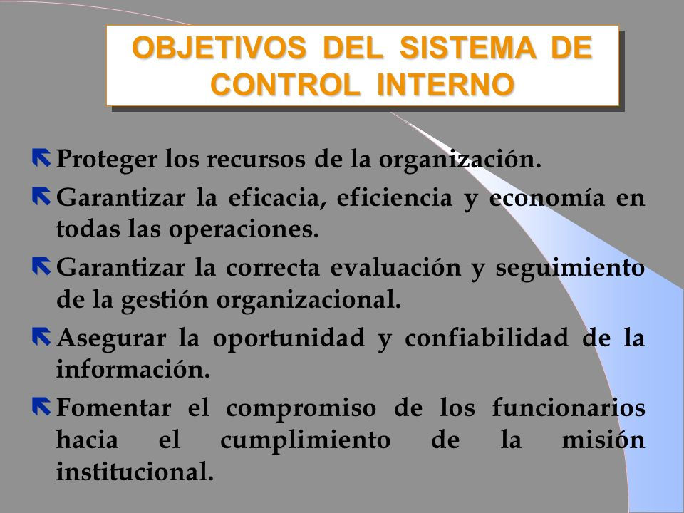 OBJETIVOS DEL SISTEMA DE CONTROL INTERNO