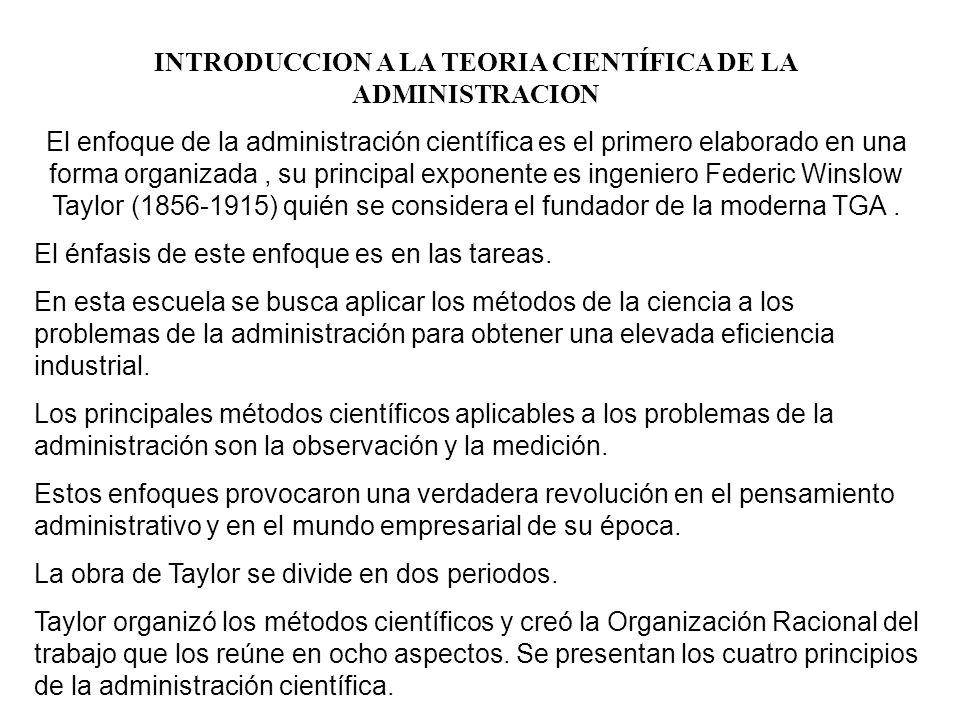 INTRODUCCION A LA TEORIA CIENTÍFICA DE LA ADMINISTRACION