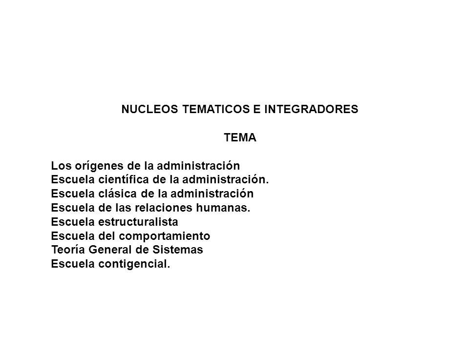 NUCLEOS TEMATICOS E INTEGRADORES