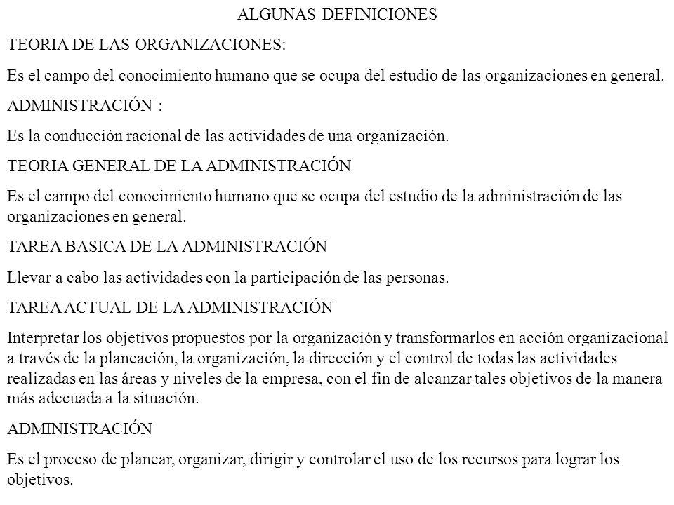 ALGUNAS DEFINICIONES TEORIA DE LAS ORGANIZACIONES: Es el campo del conocimiento humano que se ocupa del estudio de las organizaciones en general.