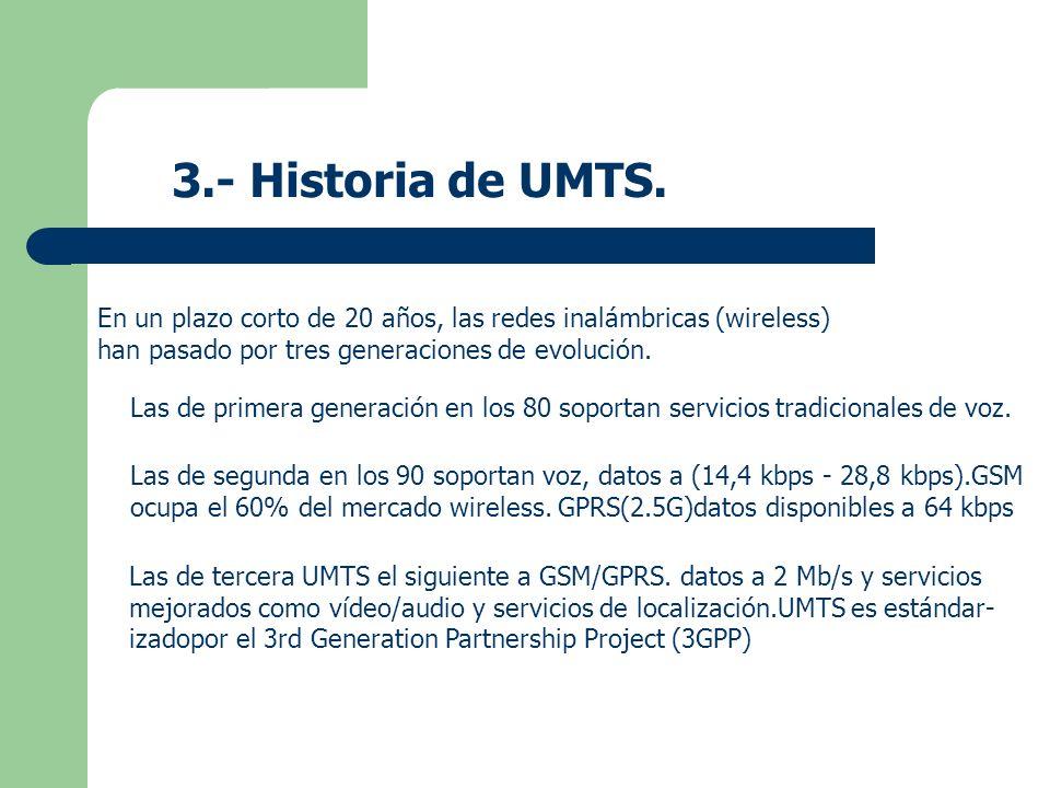 3.- Historia de UMTS. En un plazo corto de 20 años, las redes inalámbricas (wireless) han pasado por tres generaciones de evolución.