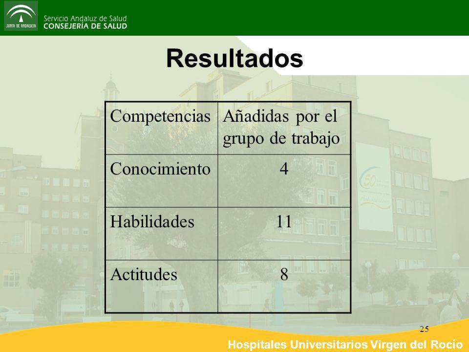 Resultados Competencias Añadidas por el grupo de trabajo Conocimiento