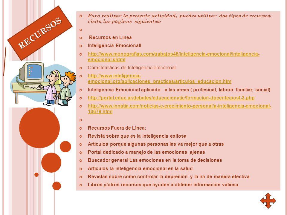 Para realizar la presente actividad, puedes utilizar dos tipos de recursos: visita las páginas siguientes: