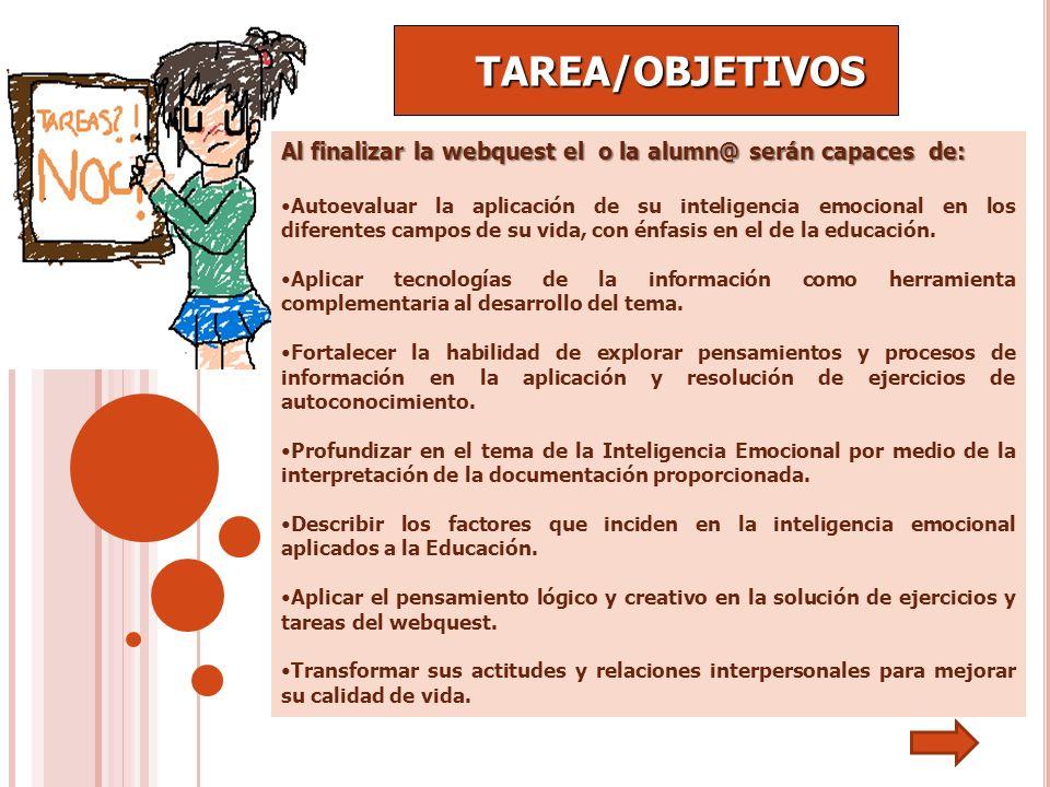 TAREA/OBJETIVOSAl finalizar la webquest el o la alumn@ serán capaces de: