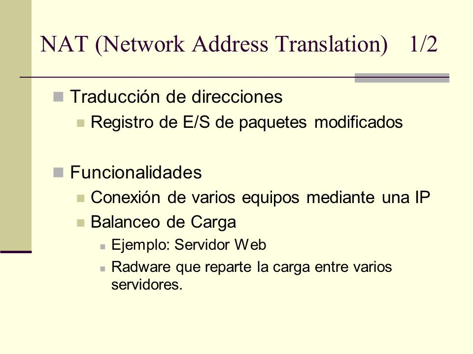 NAT (Network Address Translation) 1/2