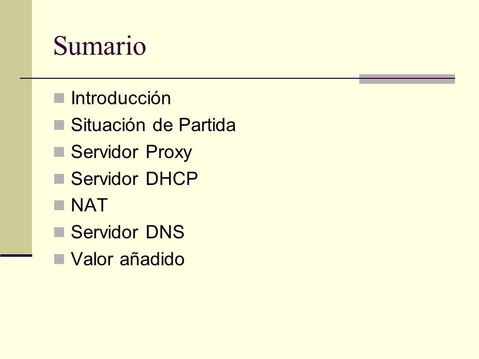 Sumario Introducción Situación de Partida Servidor Proxy Servidor DHCP