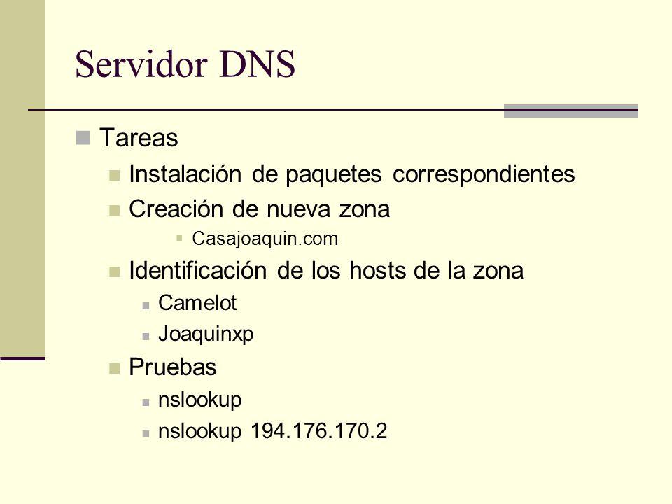Servidor DNS Tareas Instalación de paquetes correspondientes