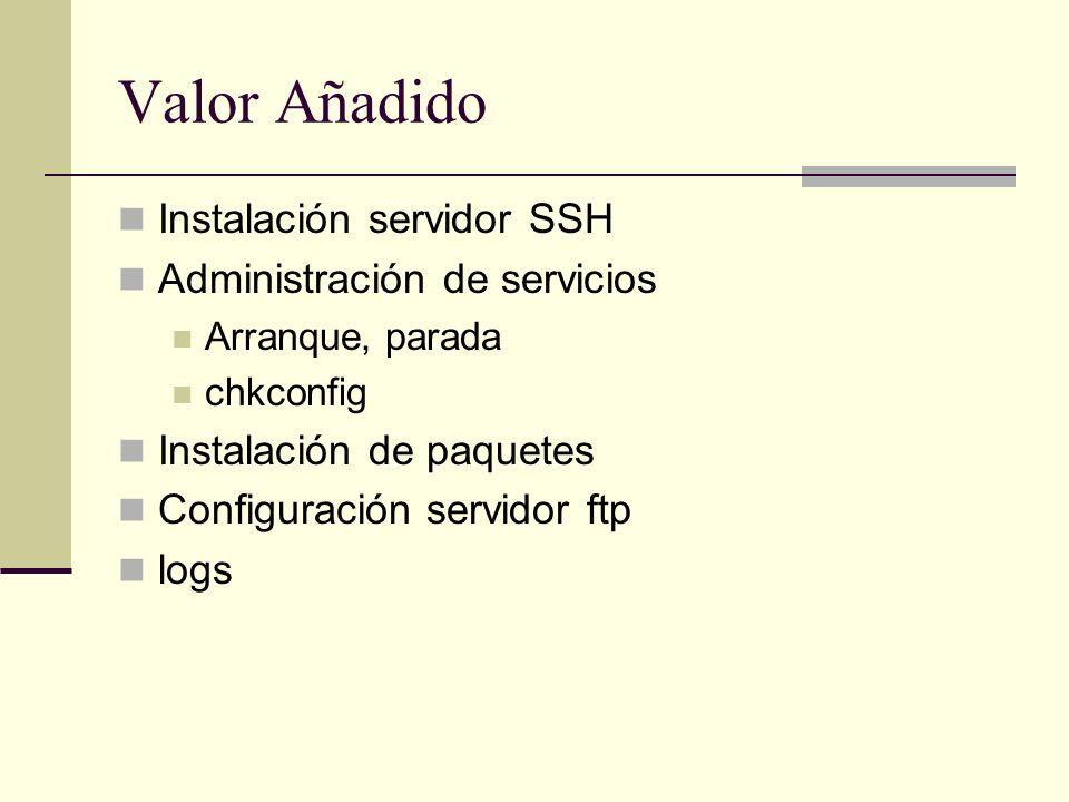 Valor Añadido Instalación servidor SSH Administración de servicios