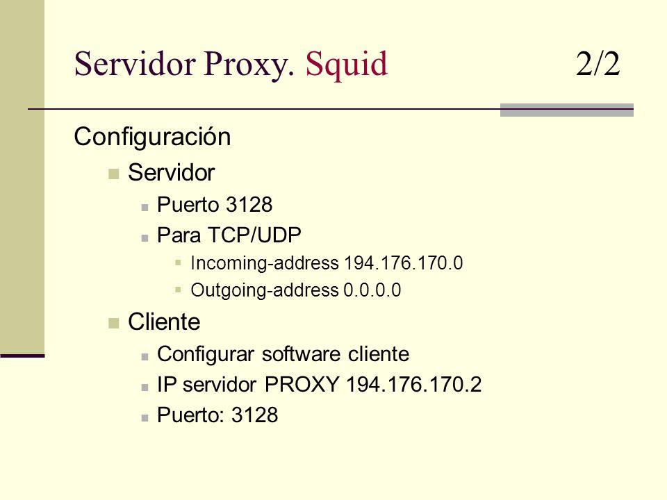 Servidor Proxy. Squid 2/2 Configuración Servidor Cliente Puerto 3128