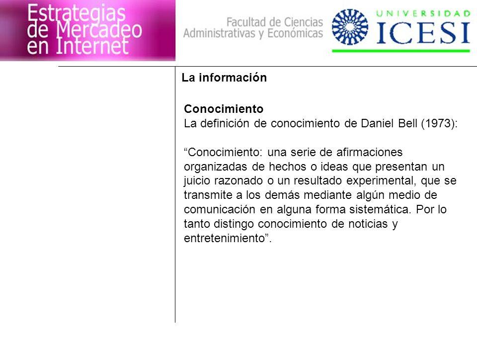 La información Conocimiento. La definición de conocimiento de Daniel Bell (1973): Conocimiento: una serie de afirmaciones.