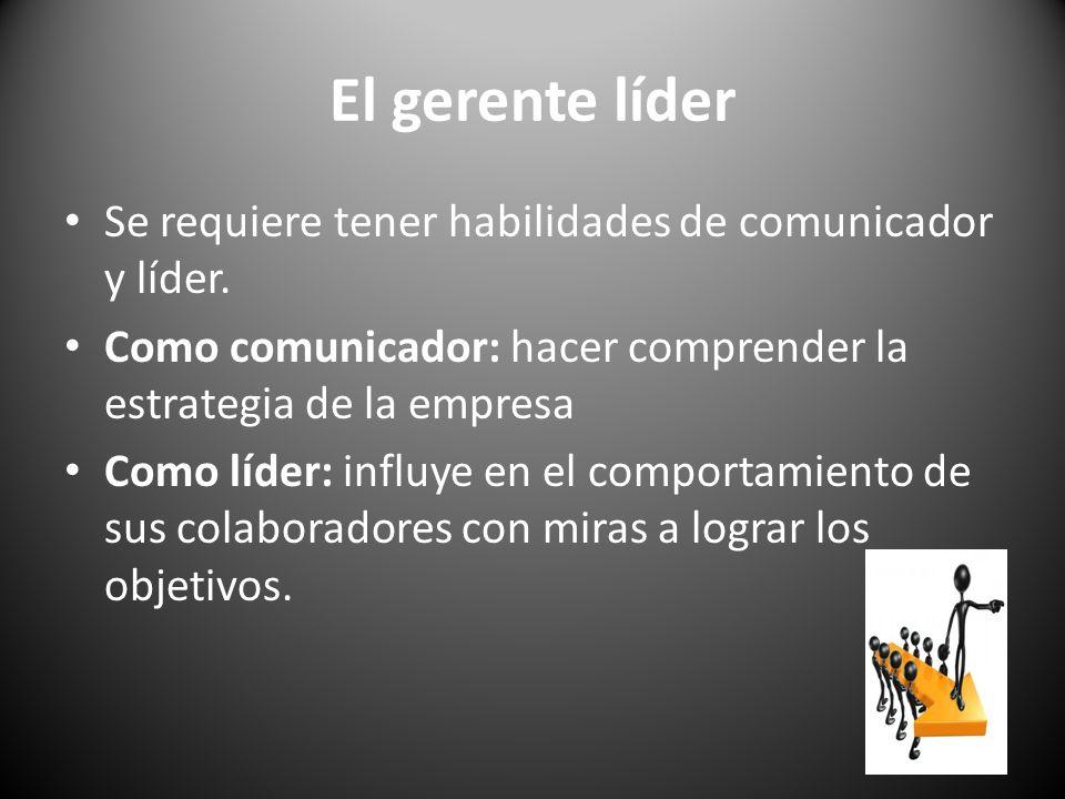 El gerente líder Se requiere tener habilidades de comunicador y líder.