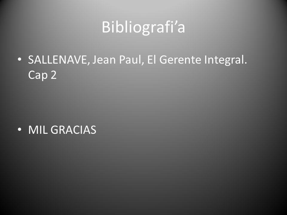 Bibliografi'a SALLENAVE, Jean Paul, El Gerente Integral. Cap 2
