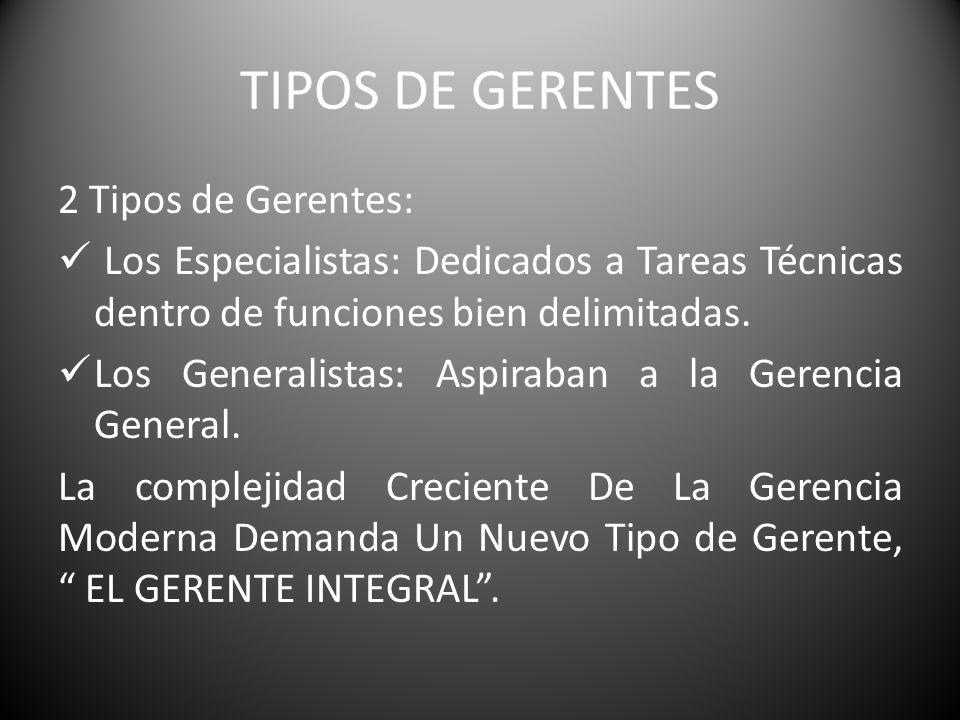 TIPOS DE GERENTES 2 Tipos de Gerentes: