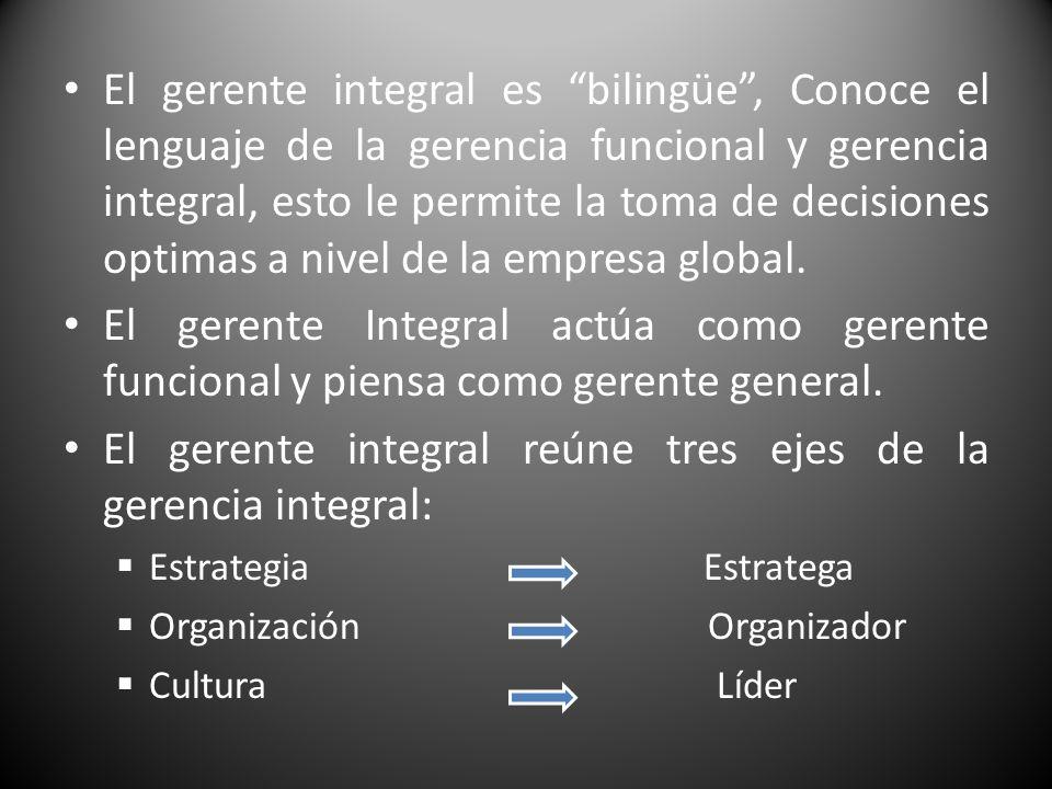 El gerente integral reúne tres ejes de la gerencia integral: