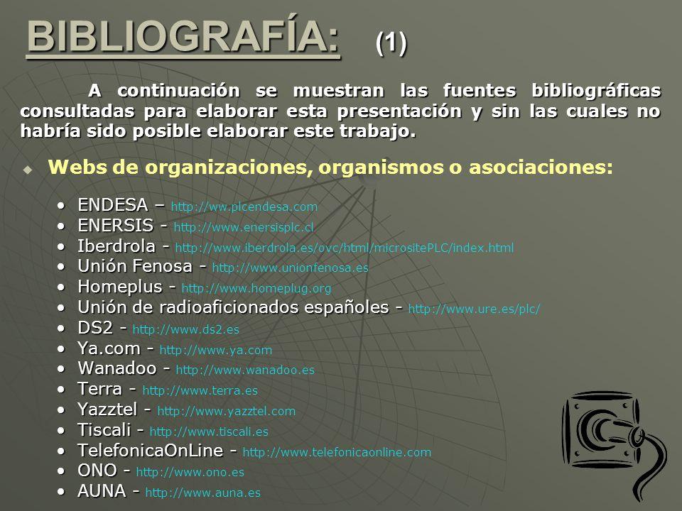BIBLIOGRAFÍA: (1) Webs de organizaciones, organismos o asociaciones: