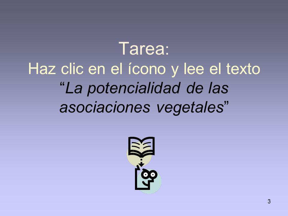 Tarea: Haz clic en el ícono y lee el texto La potencialidad de las asociaciones vegetales