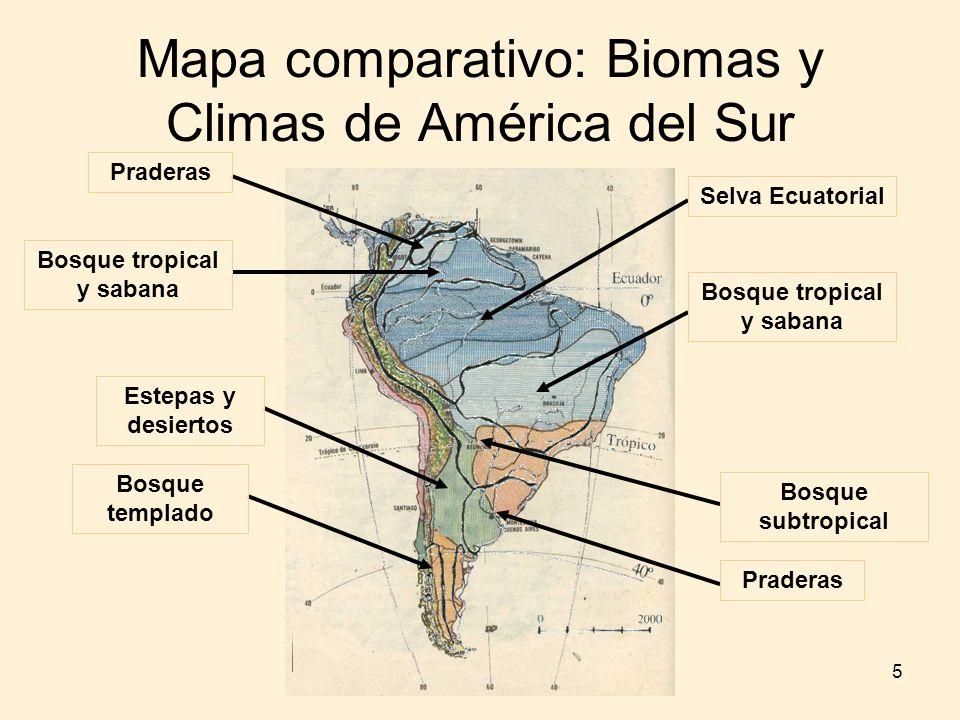 Mapa comparativo: Biomas y Climas de América del Sur