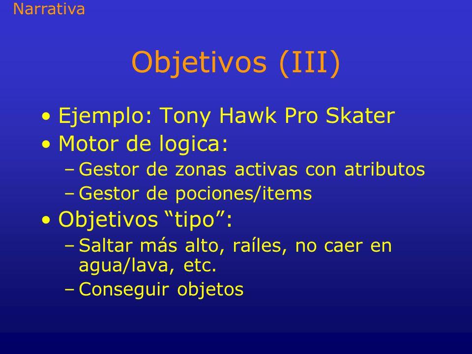 Objetivos (III) Ejemplo: Tony Hawk Pro Skater Motor de logica: