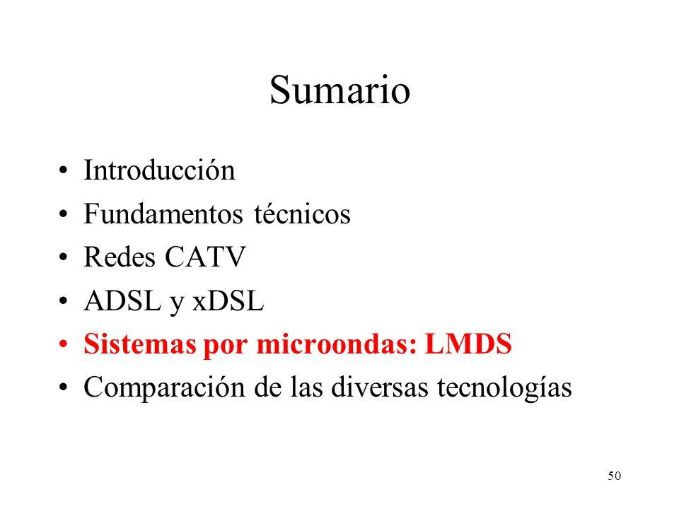 Sumario Introducción Fundamentos técnicos Redes CATV ADSL y xDSL