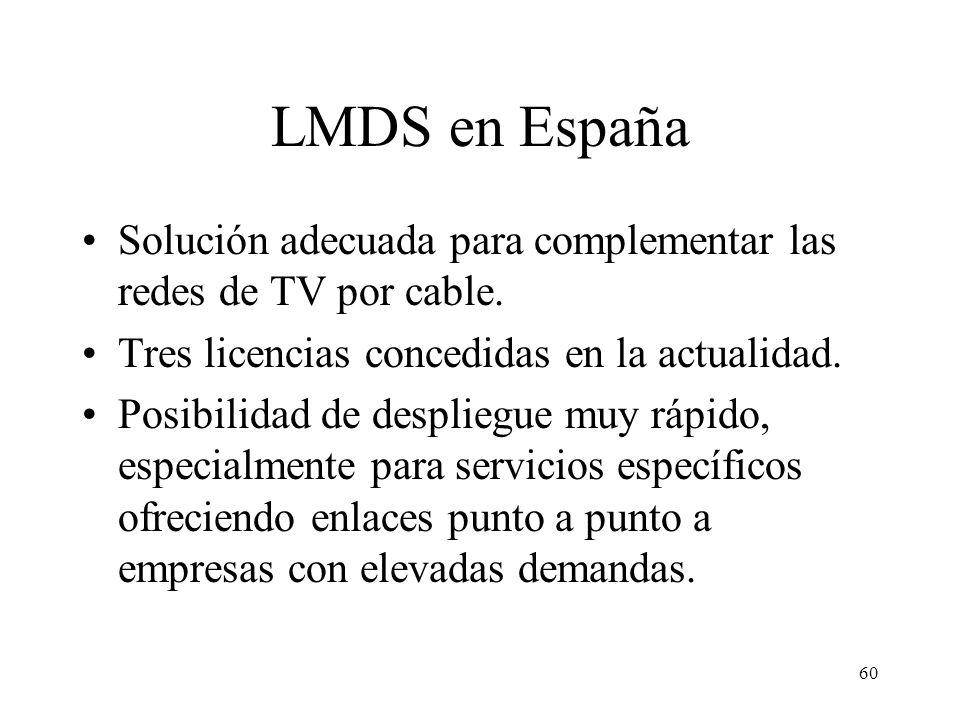 LMDS en España Solución adecuada para complementar las redes de TV por cable. Tres licencias concedidas en la actualidad.
