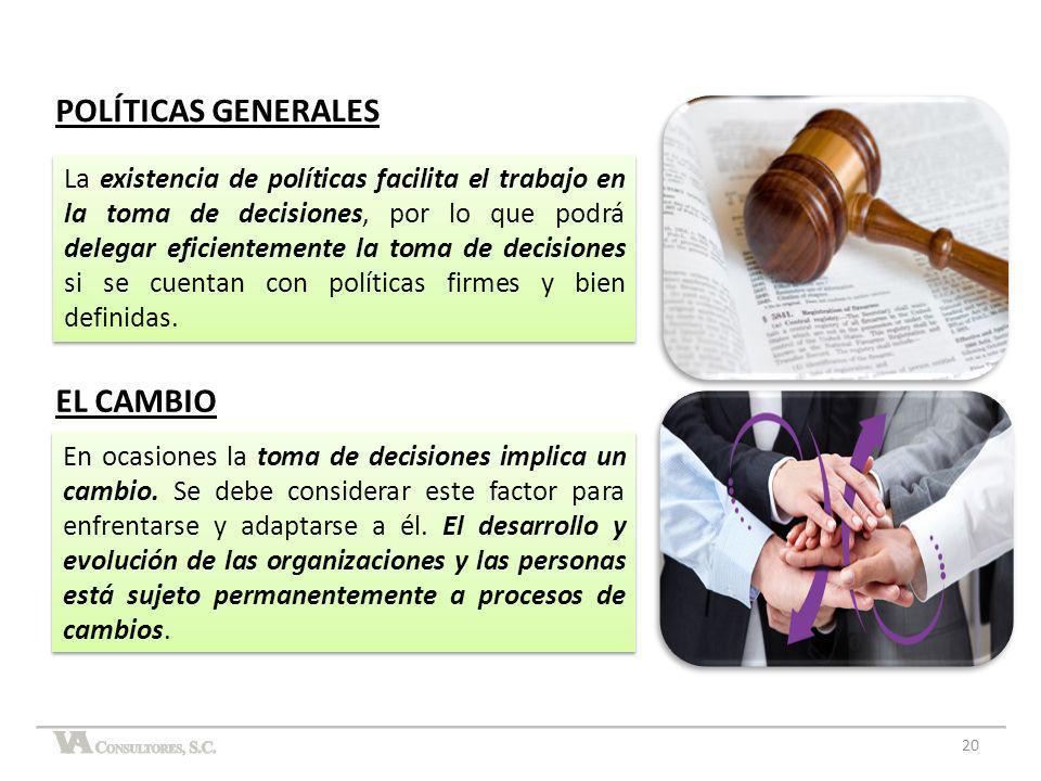 POLÍTICAS GENERALES EL CAMBIO