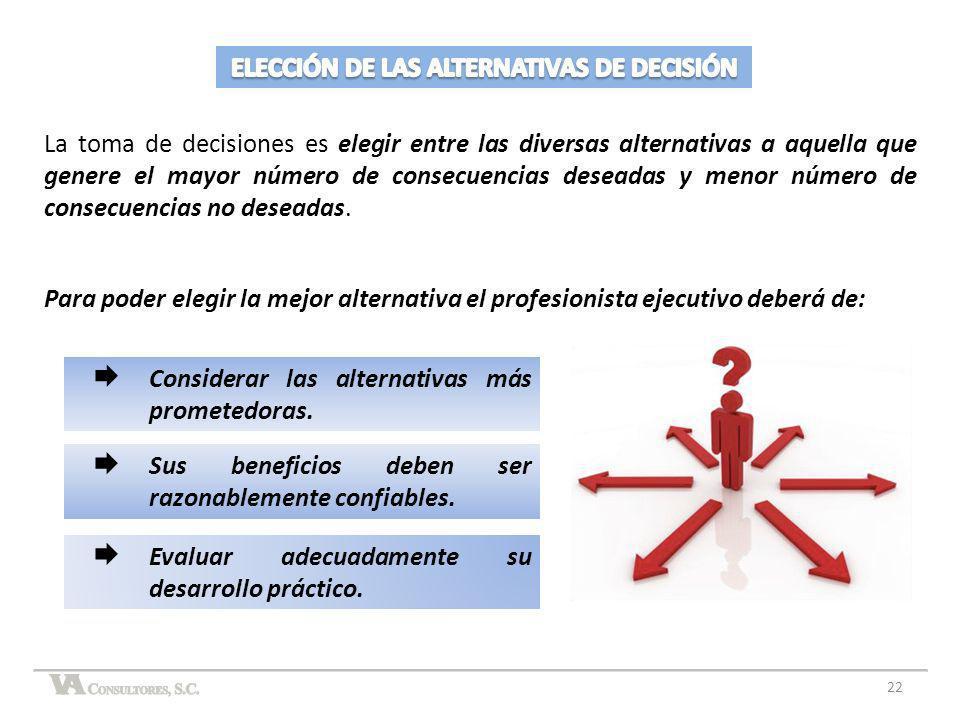 ELECCIÓN DE LAS ALTERNATIVAS DE DECISIÓN