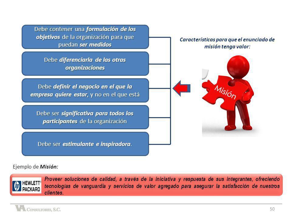 Características para que el enunciado de misión tenga valor:
