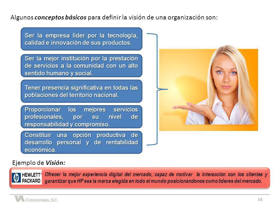 Algunos conceptos básicos para definir la visión de una organización son: