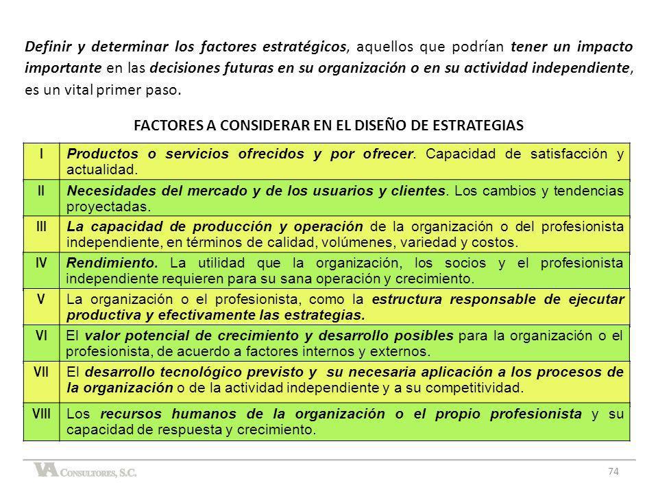 FACTORES A CONSIDERAR EN EL DISEÑO DE ESTRATEGIAS