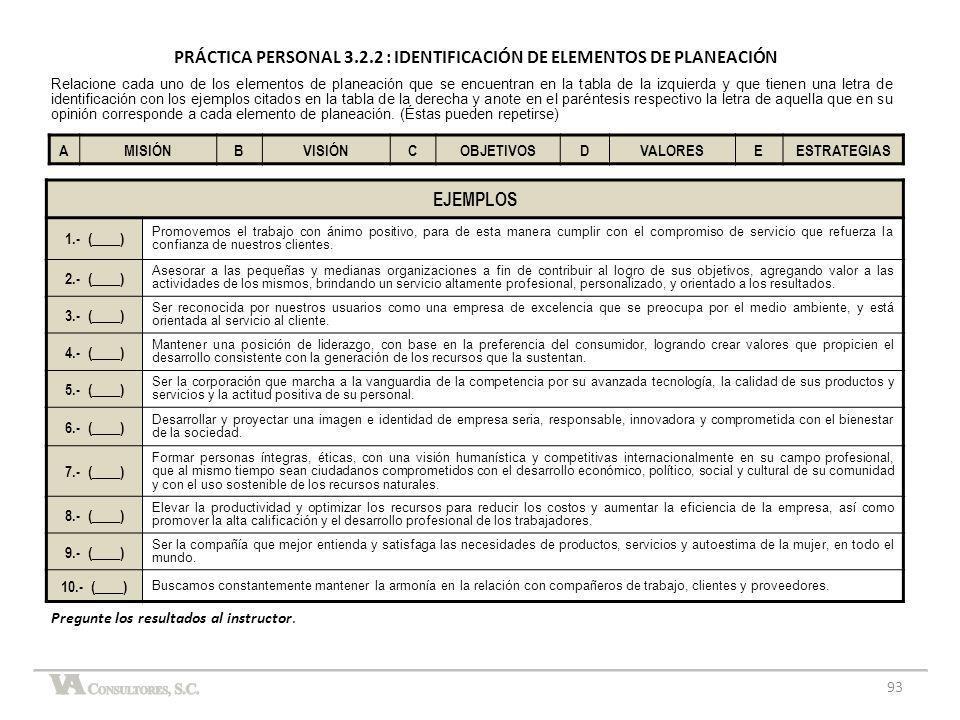 PRÁCTICA PERSONAL 3.2.2 : IDENTIFICACIÓN DE ELEMENTOS DE PLANEACIÓN