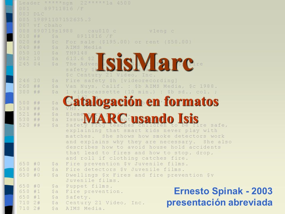 Catalogación en formatos MARC usando Isis