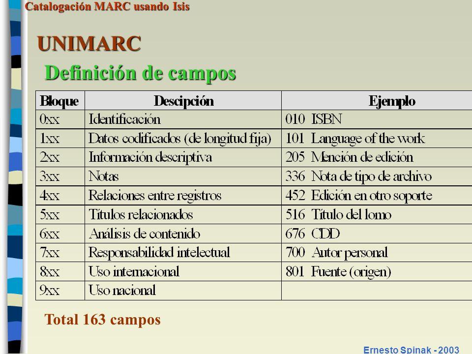 UNIMARC Definición de campos Total 163 campos Ernesto Spinak - 2003