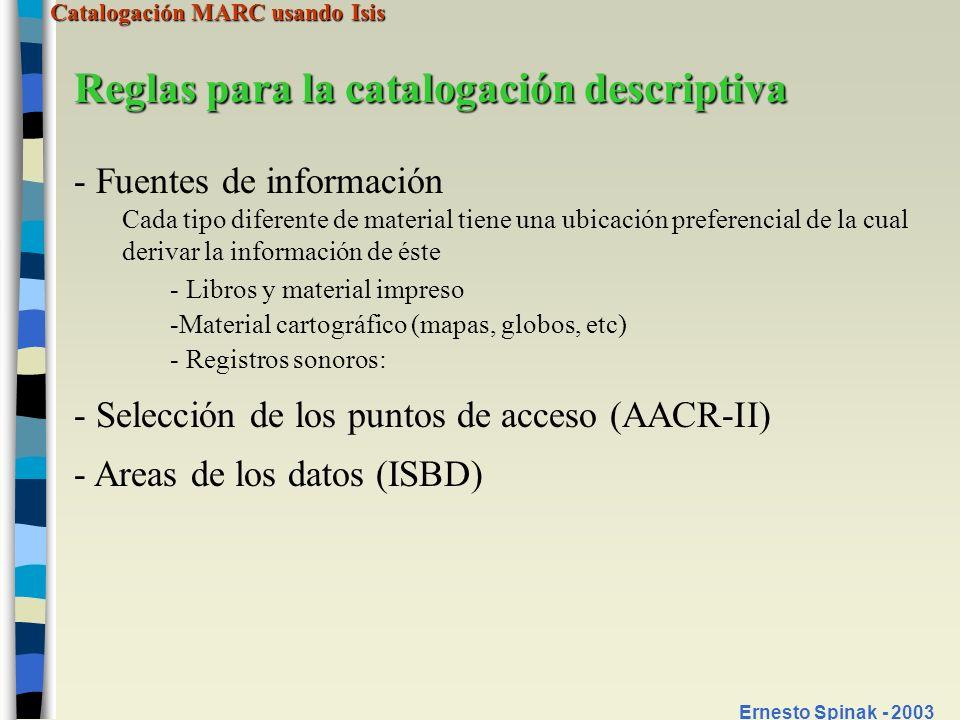 Reglas para la catalogación descriptiva
