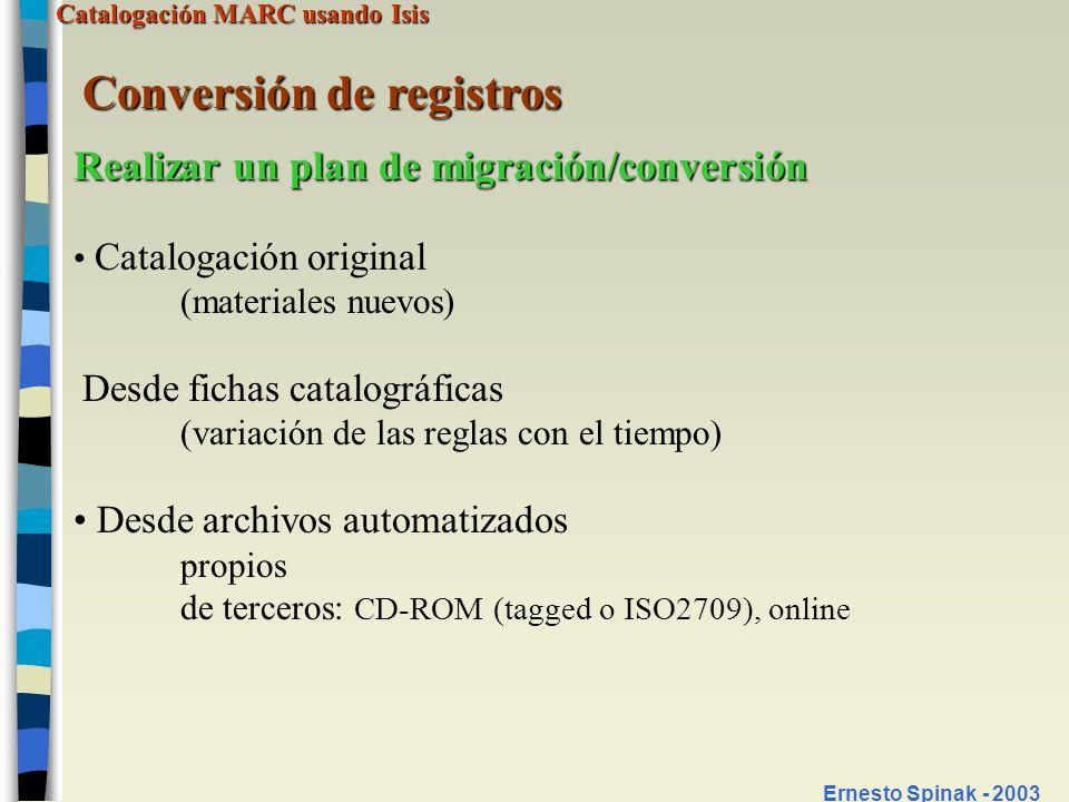 Conversión de registros