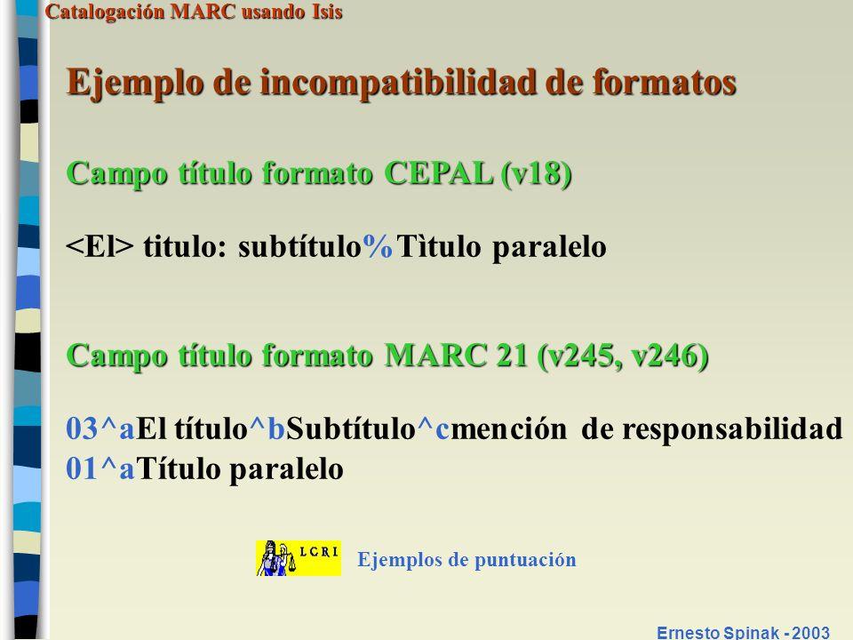 Ejemplo de incompatibilidad de formatos