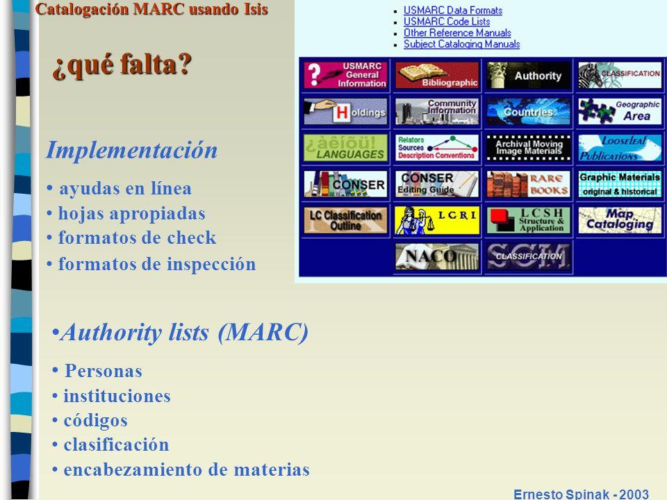 ¿qué falta Implementación Authority lists (MARC) ayudas en línea