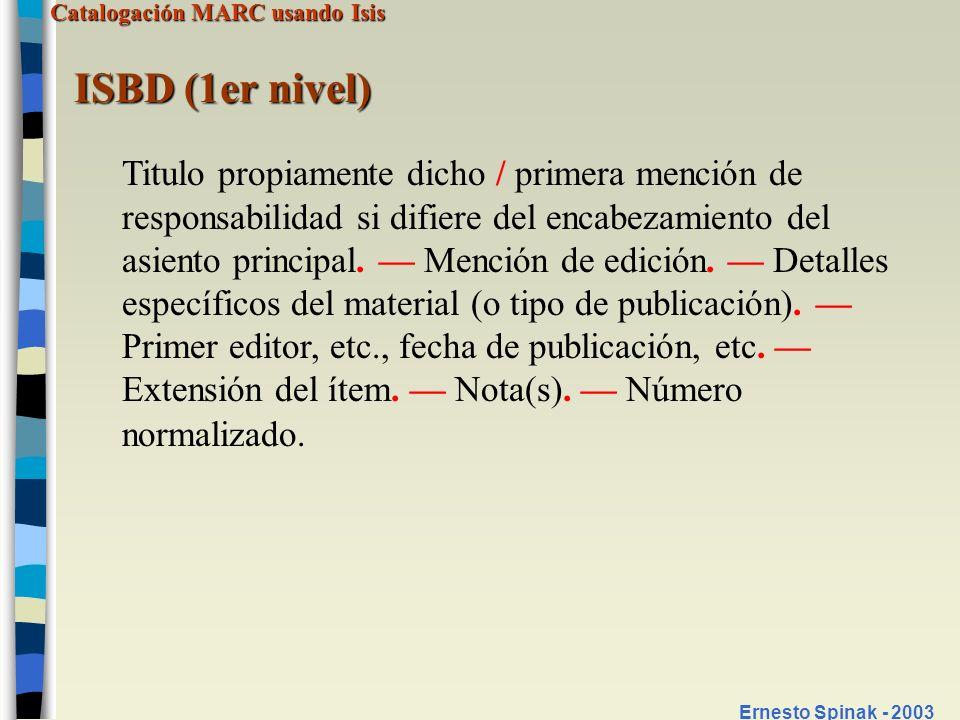 ISBD (1er nivel)