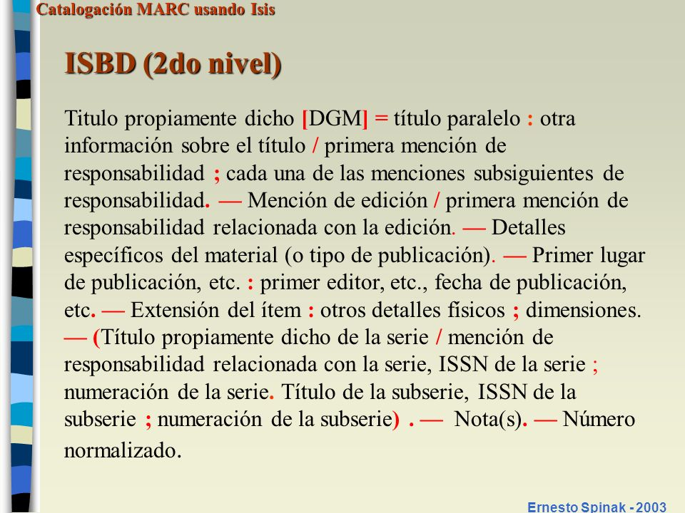 ISBD (2do nivel)