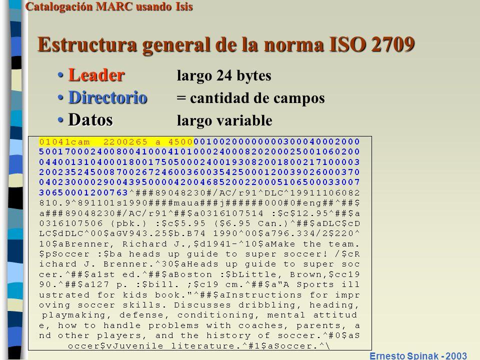 Estructura general de la norma ISO 2709